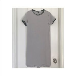 Grey contrast trim T-shirt dress